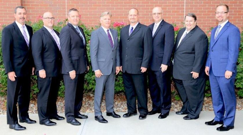 From left to right: Dr. Bill Nicely, Superintendent; Steve McDonald; Mike Miller, President; Mark Kelly, Vice President; David Lehman; Dan Weakley; Ed Haney; and John Kern.