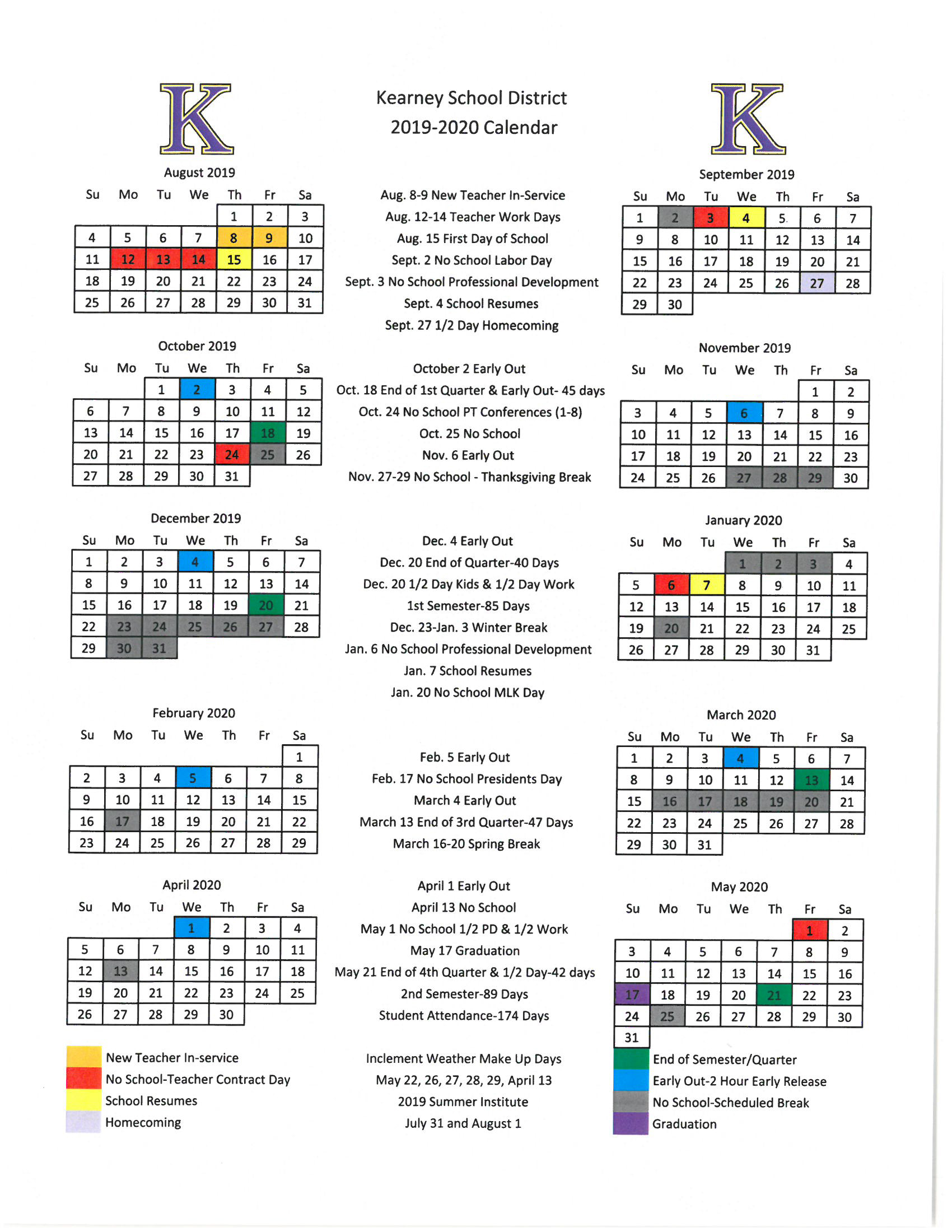 Sept Calendar 2020.Calendar Kearney School District